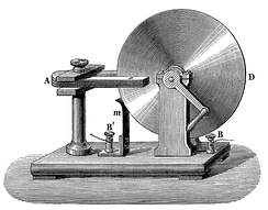 Faraday disk, the first electric generator. The horseshoe-shaped magnet (A) created a magnetic field through the disk (D). When the disk was turned, this induced an electric current radially outward from the center toward the rim.  The current flowed out through the sliding spring contact m, through the external circuit, and back into the center of the disk through the axle.
