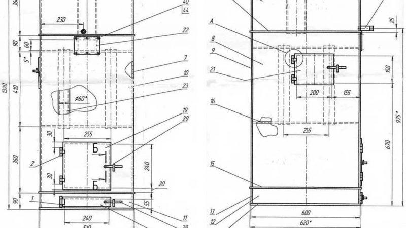 Печь в баню чертеж – Чертежи банных печей из металла с размерами
